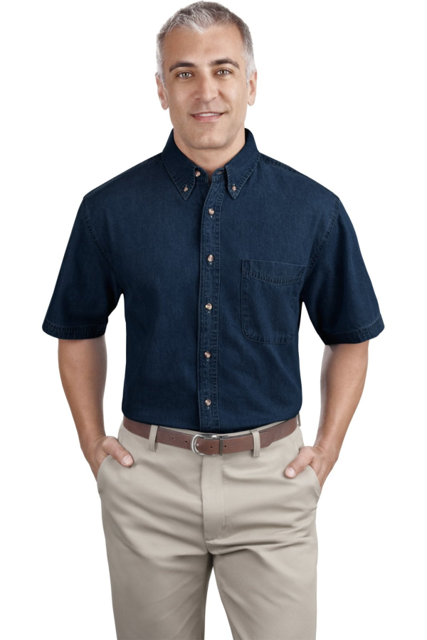 Port & Company Embroidered Men's Short Sleeve Denim Shirt